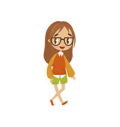 sweet cartoon girl character in in blouse and vector image