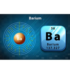 Symbol and electron diagram for Barium vector image