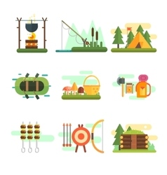 Tourist Summer Equipment Set vector image
