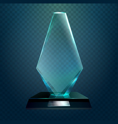 Transparent rhombus cup or trophy prize vector