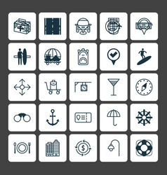 Travel icons set collection of marker ship hook vector