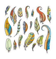 tribal feathers coloring doodle pictures isolated vector image