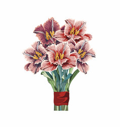 tulips flowers bouquet design element for card vector image