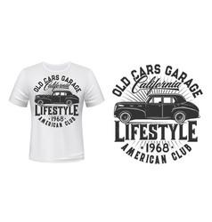 Vintage car t-shirt print template vector