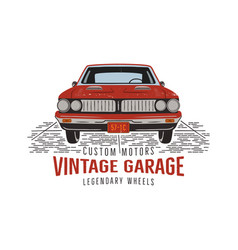 vintage hand drawn muscle car retro red american vector image
