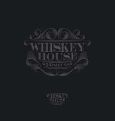 whiskey house logo vintage pub label vector image
