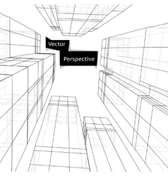 Wireframe of 3d building in perspective Abstract vector image