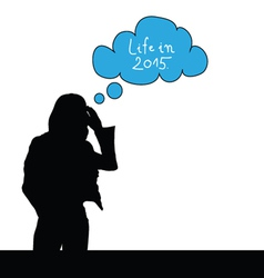 girl think life in 2015 color vector image vector image