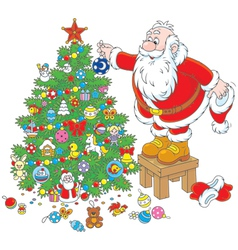 Santa claus decorating a christmas tree vector
