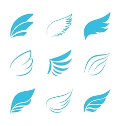 Variety Blue Wings on White Background vector image vector image