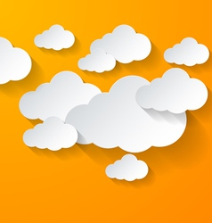 White clouds on orange background vector image