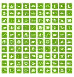 100 dog icons set grunge green vector