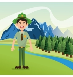 Forest ranger with landscape of pine trees and vector