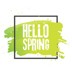 hello spring lettering with hand drawn letters vector image vector image
