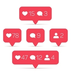 Like follower comment icons set vector