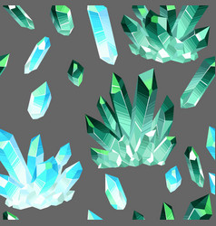 seamless pattern with crystals gems vector image vector image