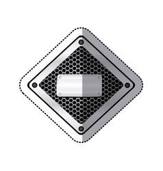 sticker diamond metallic frame with grill vector image