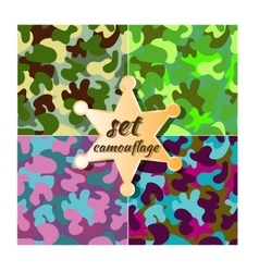 colorful camouflage seamless pattern set vector image