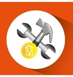 Construction remodel hammer and wrench icon vector