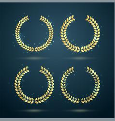 golden laurel wreaths vector image