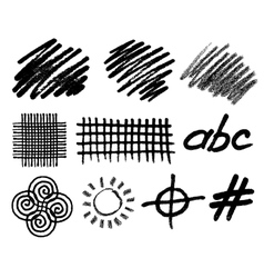 Grunge hand drawn geometric elements for vector image vector image