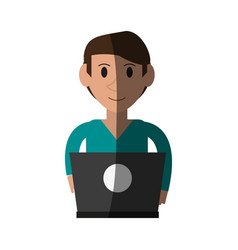 Person desk flat shadow vector