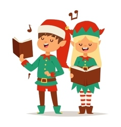 Santa Claus kids cartoon elf helpers vector image vector image