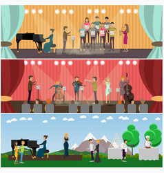set of orchestra concept flat style posters vector image vector image