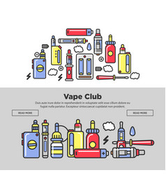 Vape club promotional posters with devices and vector