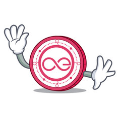 waving aeternity coin character cartoon vector image vector image