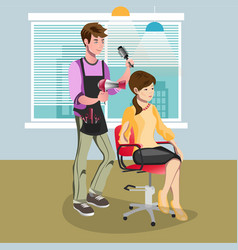 woman in beauty salon at hairdresser vector image vector image