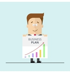 Businessman or manager in a suit shows business vector image