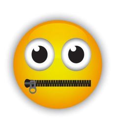 emoticon with a mouth fastened with a zipper vector image
