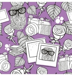 Seamless pattern for coloring with smart owls and vector image vector image