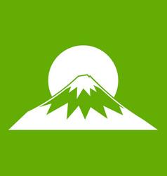 sun and mountain icon green vector image