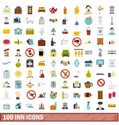 100 inn icons set flat style vector image