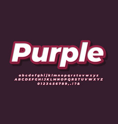 3d bold purple text effect or font effect style vector