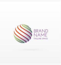 3d circle logo concept design art vector image