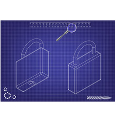 3d model of the padlock on a blue vector image