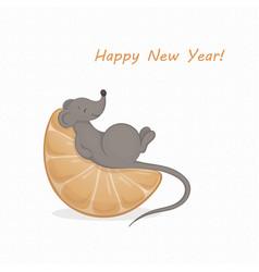 A cartoon cute gray mouse vector