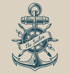 A vintage anchor and ship wheel vector