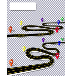 A winding road with signs on the background of a vector