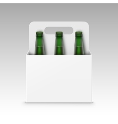 Blank Green Bottles of Light Beer with Packaging vector image vector image
