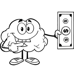 Brain holding money vector image