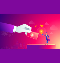businessman with light bulb and other hand giving vector image