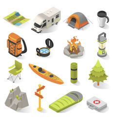 Camping and travel isometric elements vector