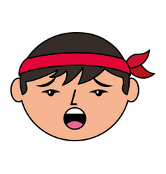 cartoon face chinese man talking unhappy vector image