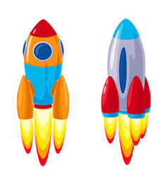 Cartoon rockets spaceships set vector