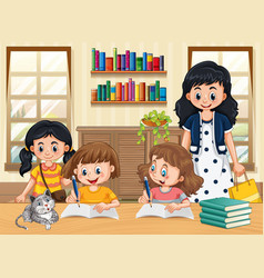 children learning at home vector image