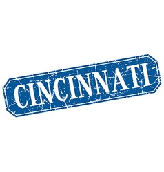 Cincinnati blue square grunge retro style sign vector